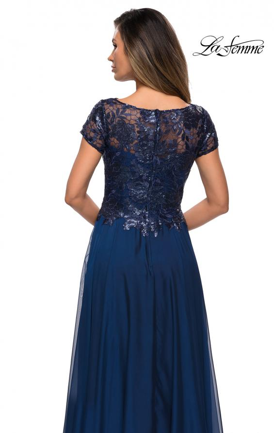 Picture of: Short Sleeve Metallic Lace Evening Dress with Chiffon Skirt in Navy, Style: 27924, Detail Picture 4