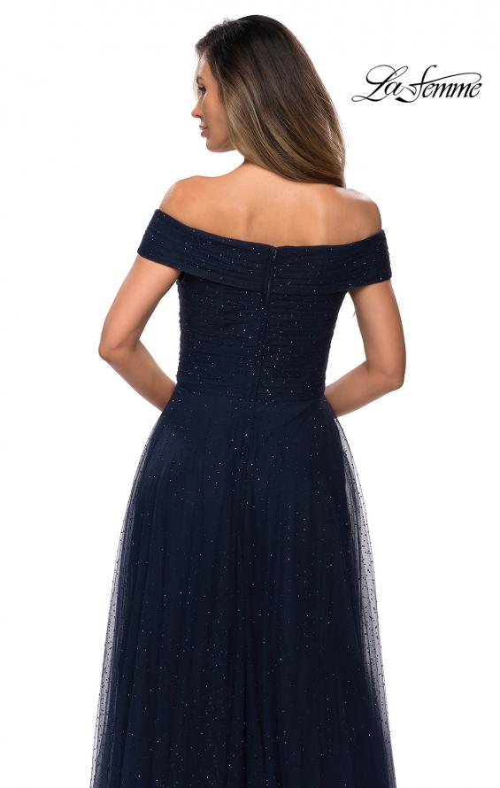 Picture of: Tulle Off the Shoudler A-line Dress with Rhinestones in Navy, Style: 28051, Detail Picture 4