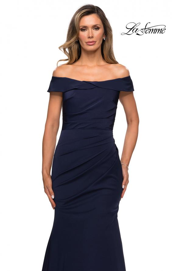 Picture of: Off the Shoulder Satin Evening Gown with Ruching in Navy, Style: 28110, Detail Picture 4