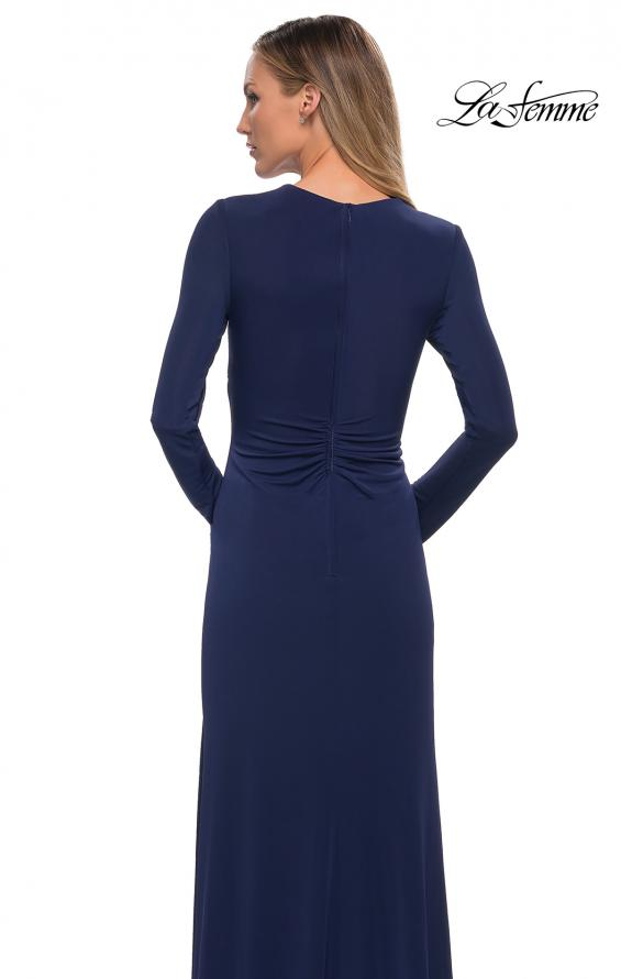 Picture of: Long Sleeve Jersey Dress with Criss-Criss Front Ruching in Navy, Detail Picture 4