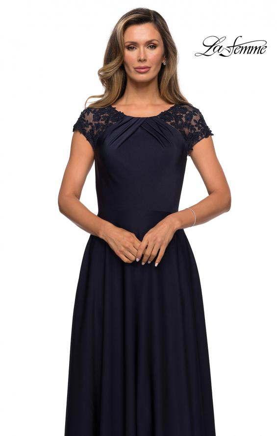Picture of: Long Satin Dress with Sheer Floral Lace Cap Sleeves in Navy, Style: 28100, Detail Picture 5
