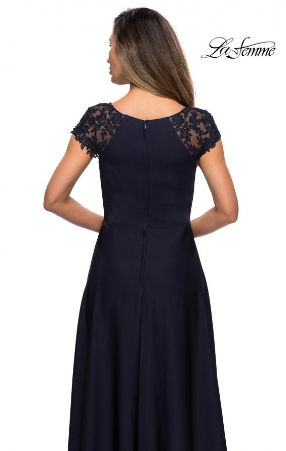 Picture of: Long Satin Dress with Sheer Floral Lace Cap Sleeves in Navy, Style: 28100, Detail Picture 6