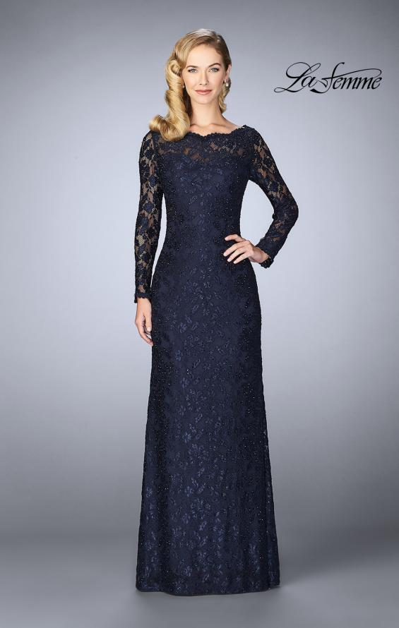 Picture of: Lace Gown with Long Illusion Sleeves and Closed Back in Navy, Style: 24869, Main Picture