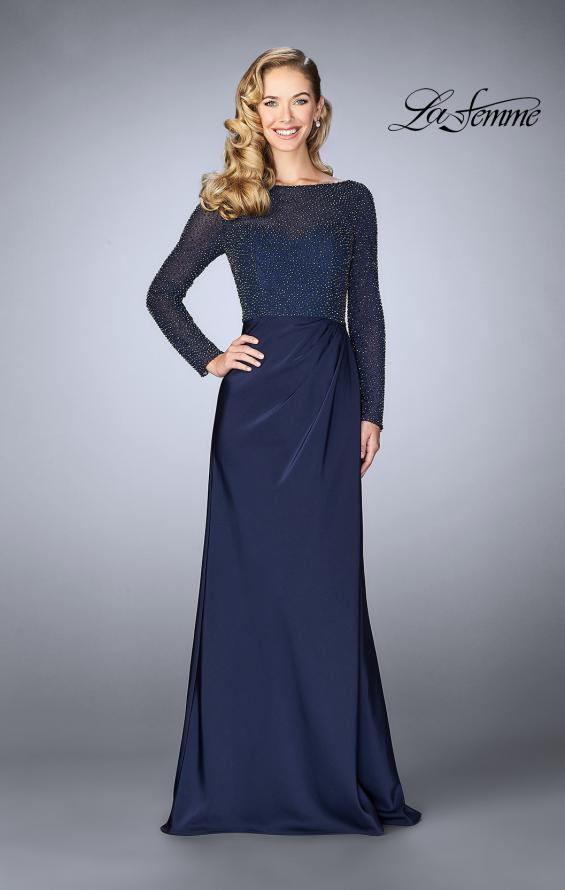 Picture of: Beaded Long Evening Gown with Sheer Sleeves in Navy, Style: 24895, Main Picture