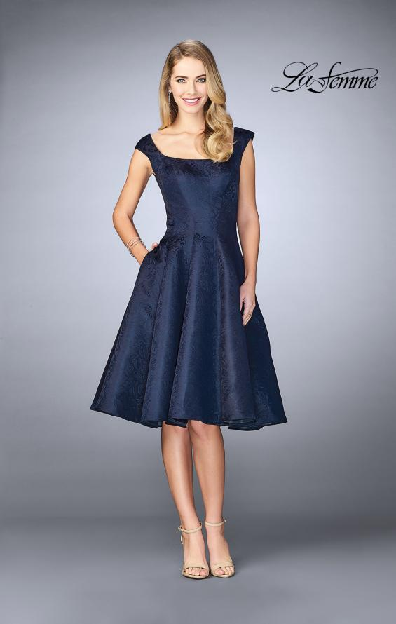 Picture of: Knee Length Evening Dress with Pockets in Navy, Style: 24898, Main Picture