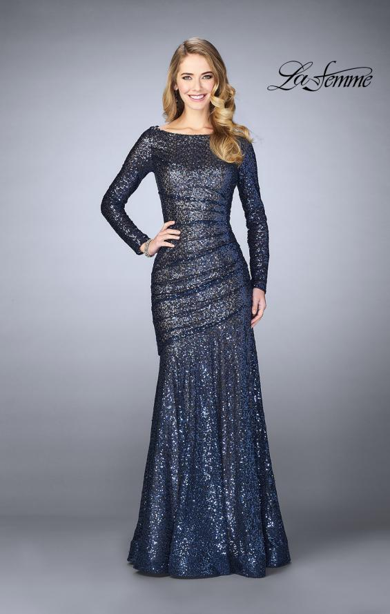 Picture of: Gathered Sequin Prom Gown With Long Sleeves, Style: 24919, Main Picture
