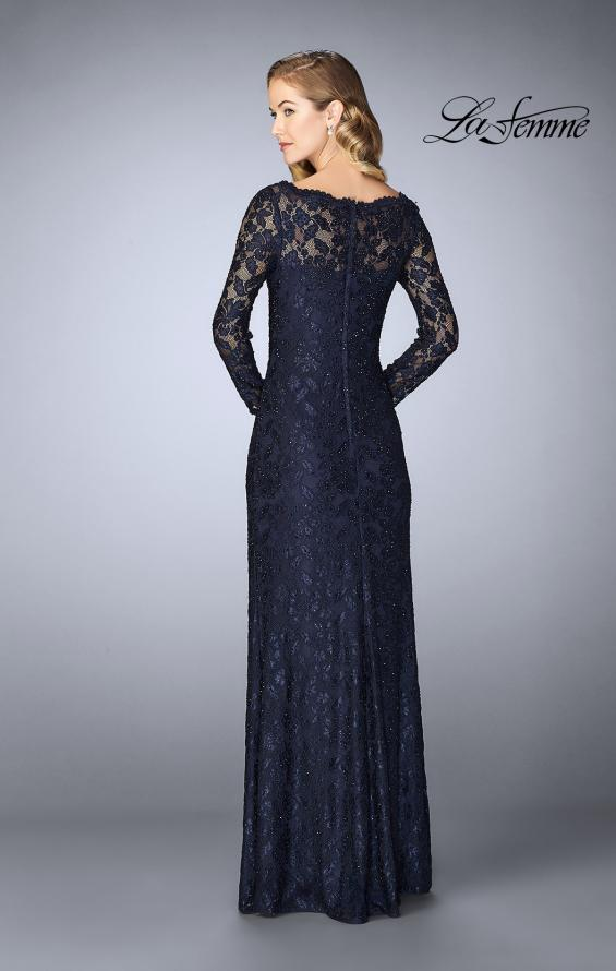 Picture of: Lace Gown with Long Illusion Sleeves and Closed Back in Navy, Style: 24869, Back Picture