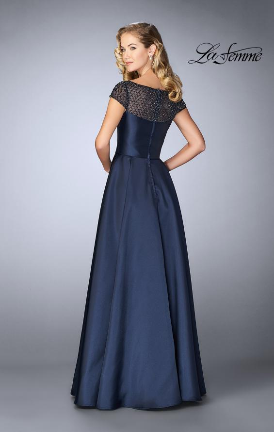 Picture of: A-line Mikado Gown with Sheer Beaded Top in Navy, Style: 24883, Back Picture