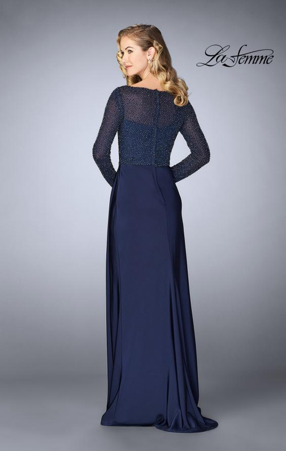 Picture of: Beaded Long Evening Gown with Sheer Sleeves in Navy, Style: 24895, Back Picture