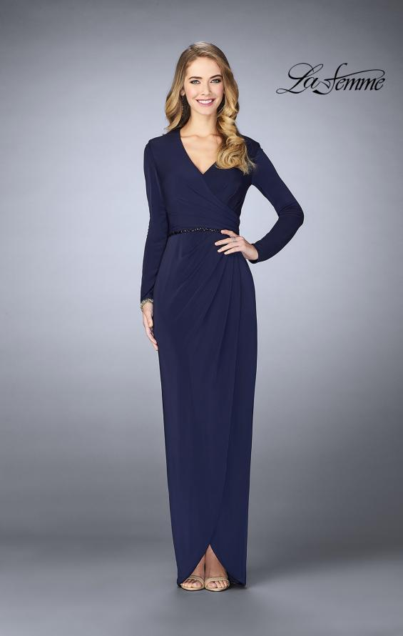 Picture of: Tulip Hem Long Sleeve Evening Gown in Plum, Style: 24927, Detail Picture 1