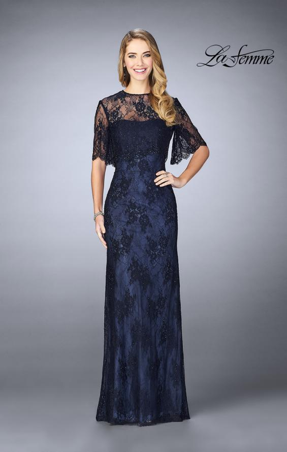 Picture of: Evening Strapless Lace Dress with Matching Lace Shawl in Navy, Style: 24856, Detail Picture 2