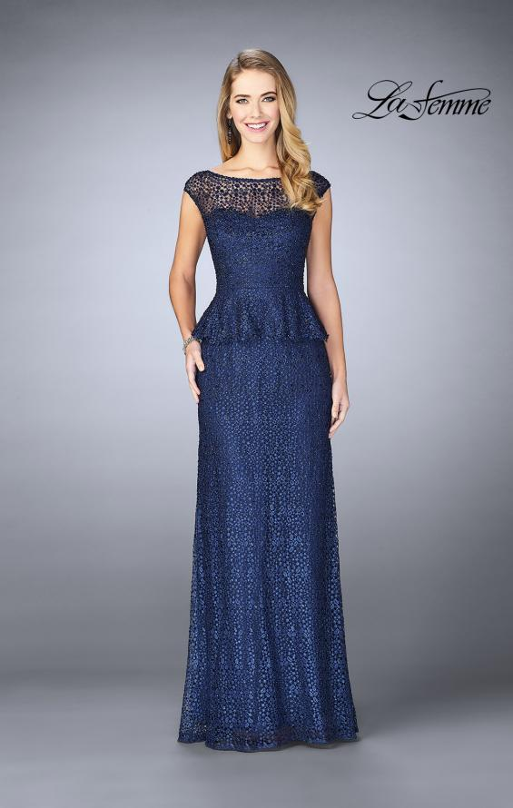 Picture of: Lace A-line Gown With Sheer Neckline and Peplum in Navy, Style: 24896, Detail Picture 3