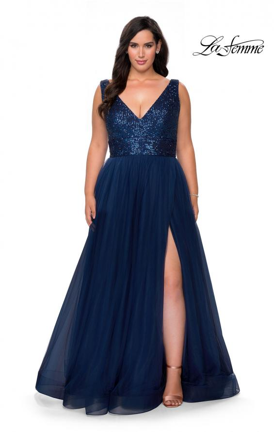 Picture of: Curvy A-line Prom Gown with Sequin Bodice and Tulle Skirt in Navy, Style: 29045, Main Picture