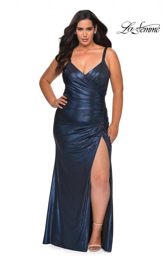 Picture of: Metallic Plus Size Dress with Cut Out Open Back in Navy, Style: 29053, Main Picture