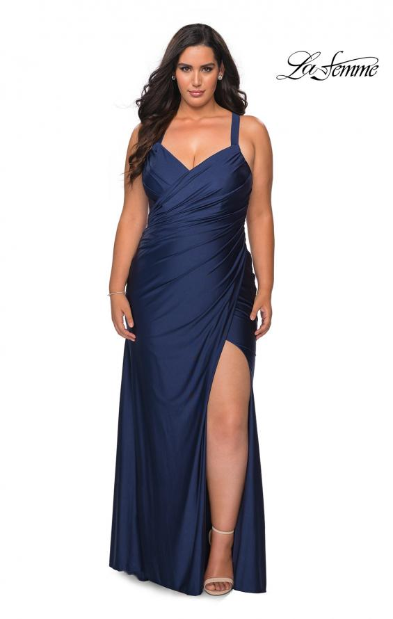 Picture of: Chic Jersey Plus Size Gown with Strappy Back in Navy, Style: 29062, Main Picture