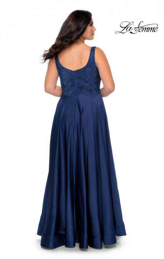 Picture of: Rhinestone Bodice Plus Size Prom Gown with Pockets in Navy, Style: 28879, Back Picture