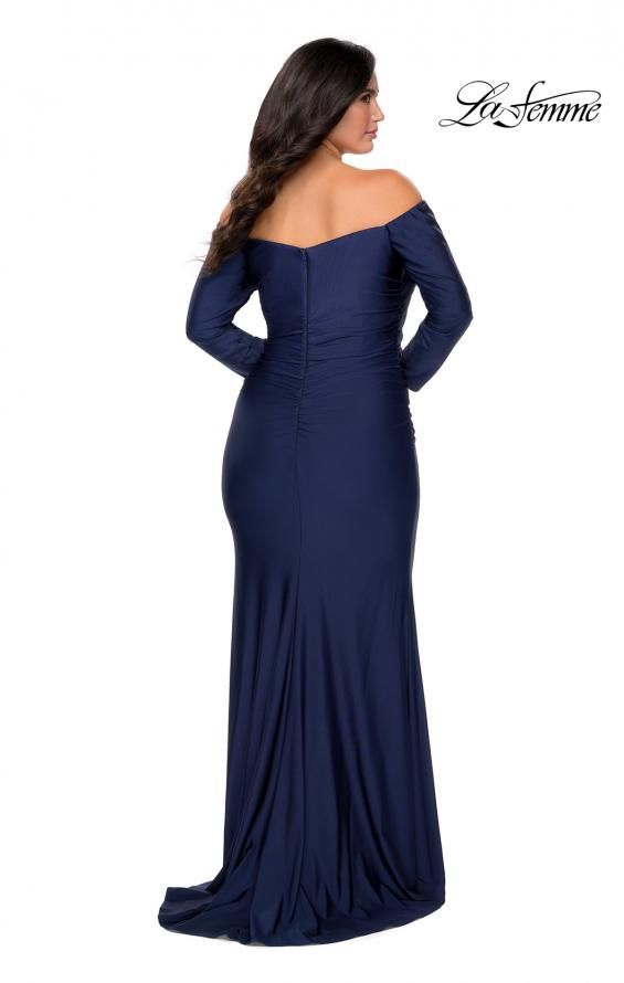 Picture of: Off The Shoulder Jersey Plus Size Long Sleeve Prom Gown in Navy, Style: 28881, Back Picture