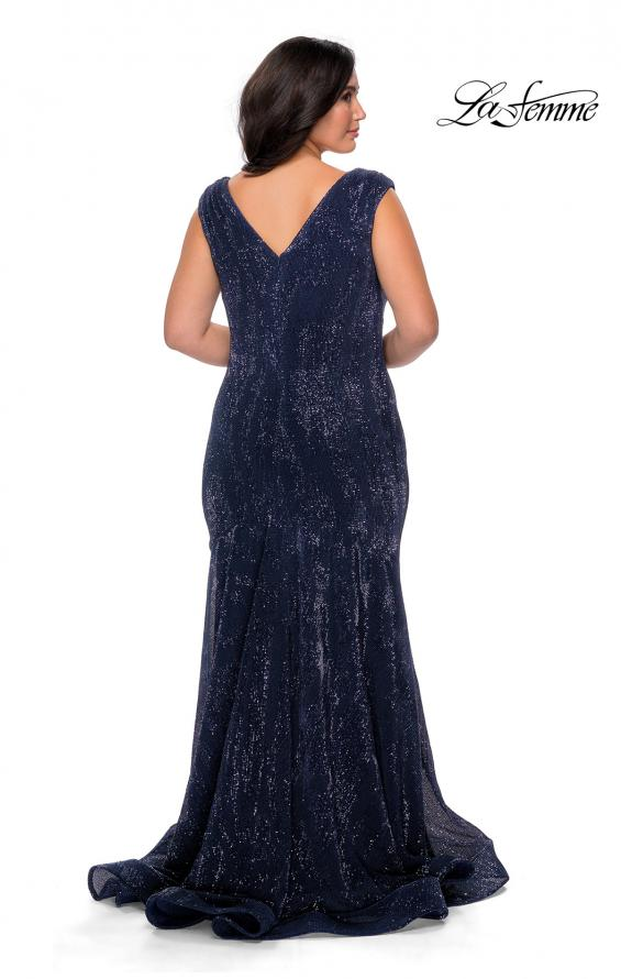 Picture of: Faux Wrap Bodice Sequin Plus Size Prom Gown in Navy, Style: 28962, Back Picture