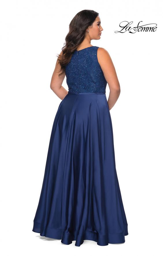 Picture of: A-line Plus Size Dress with Lace Sequin Bodice in Navy, Style: 29004, Back Picture