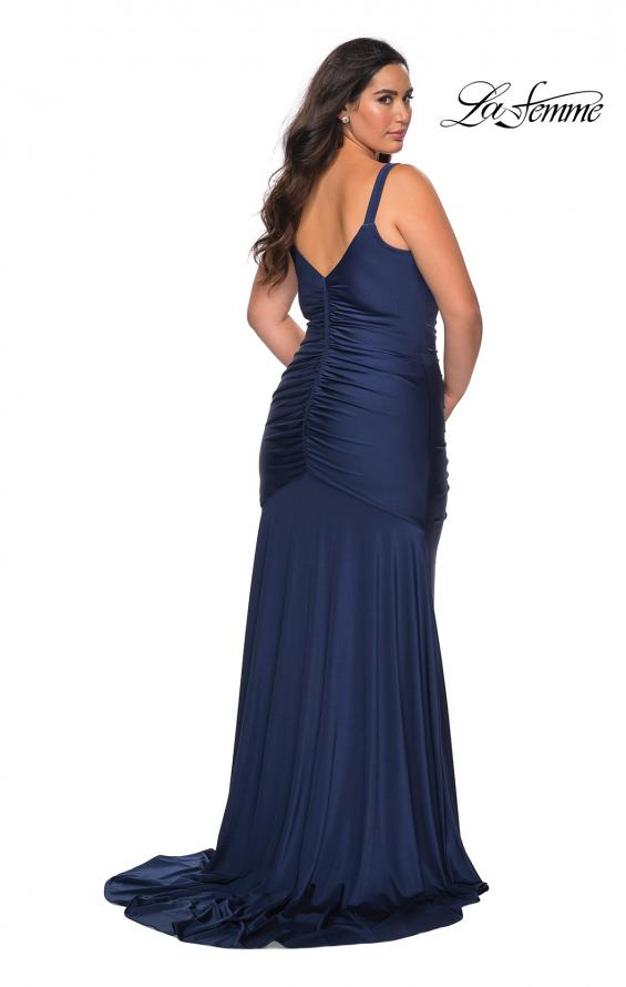 Picture of: Curvy Jersey Prom Dress with Center Slit and Ruching in Navy, Style: 29027, Back Picture