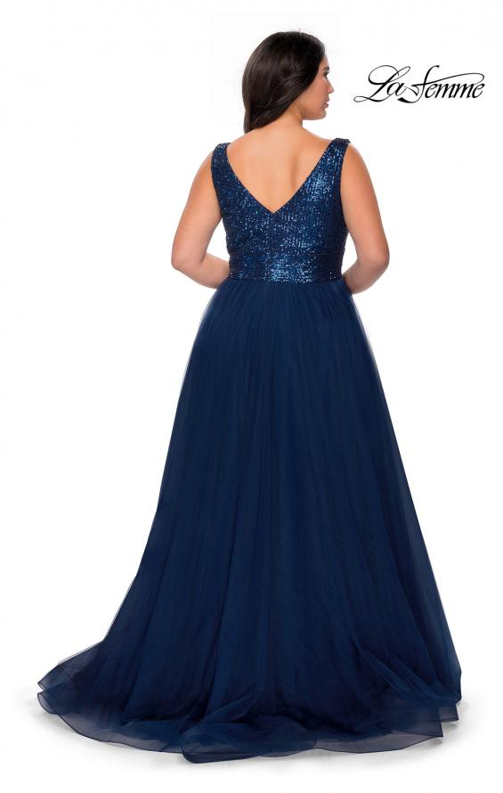 Picture of: Curvy A-line Prom Gown with Sequin Bodice and Tulle Skirt in Navy, Style: 29045, Back Picture