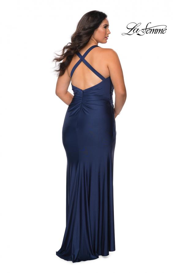 Picture of: Chic Jersey Plus Size Gown with Strappy Back in Navy, Style: 29062, Back Picture