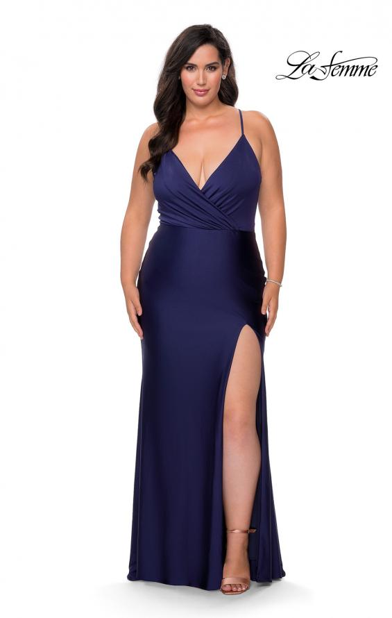 Picture of: Jersey Prom Dress for Curves with Slit and Criss Cross Back in Navy, Style: 29022, Detail Picture 1