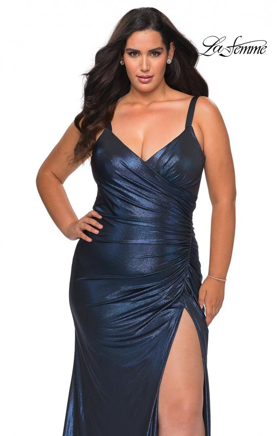 Picture of: Metallic Plus Size Dress with Cut Out Open Back in Navy, Style: 29053, Detail Picture 1