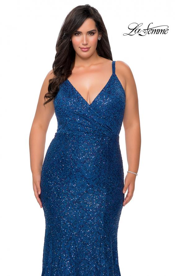Picture of: Sequin Curvy Prom Dress with Cut Out Open Back in Navy, Style: 29063, Detail Picture 1