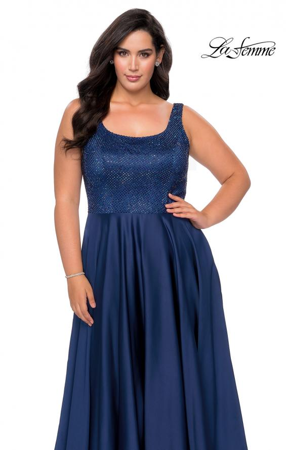 Picture of: Rhinestone Bodice Plus Size Prom Gown with Pockets in Navy, Style: 28879, Detail Picture 2