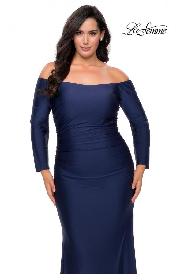 Picture of: Off The Shoulder Jersey Plus Size Long Sleeve Prom Gown in Navy, Style: 28881, Detail Picture 2