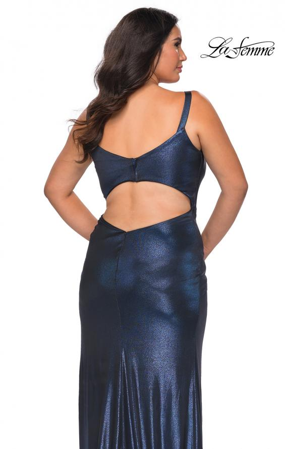 Picture of: Metallic Plus Size Dress with Cut Out Open Back in Navy, Style: 29053, Detail Picture 2