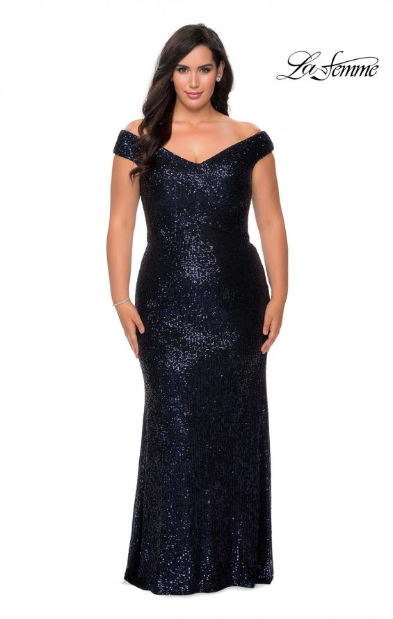Picture of: Off The Shoulder Sequin Plus Size Prom Dress in Navy, Style: 28795, Detail Picture 3