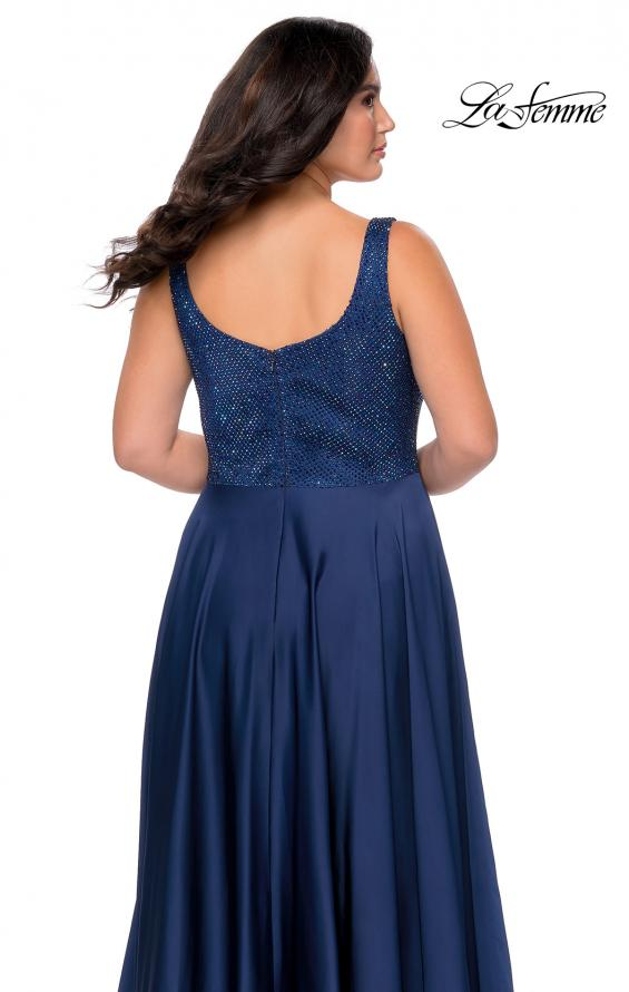 Picture of: Rhinestone Bodice Plus Size Prom Gown with Pockets in Navy, Style: 28879, Detail Picture 3