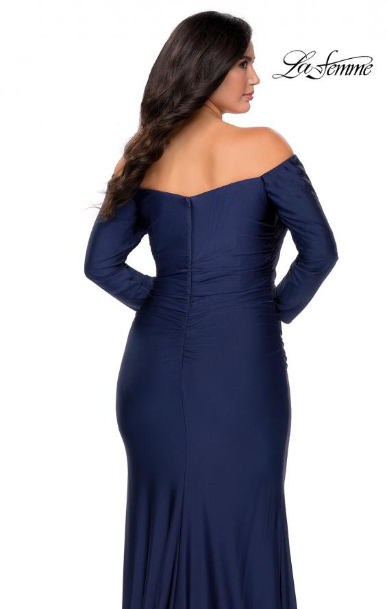 Picture of: Off The Shoulder Jersey Plus Size Long Sleeve Prom Gown in Navy, Style: 28881, Detail Picture 3