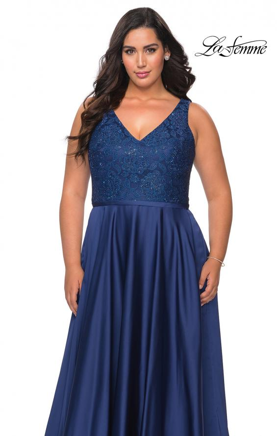 Picture of: A-line Plus Size Dress with Lace Sequin Bodice in Navy, Style: 29004, Detail Picture 3
