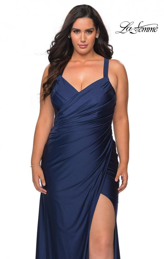 Picture of: Chic Jersey Plus Size Gown with Strappy Back in Navy, Style: 29062, Detail Picture 3