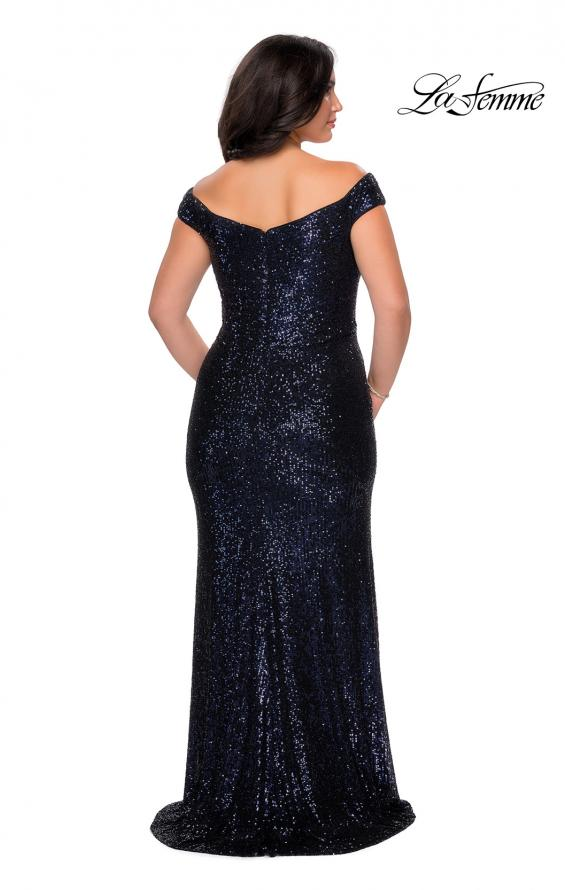 Picture of: Off The Shoulder Sequin Plus Size Prom Dress in Navy, Style: 28795, Detail Picture 4