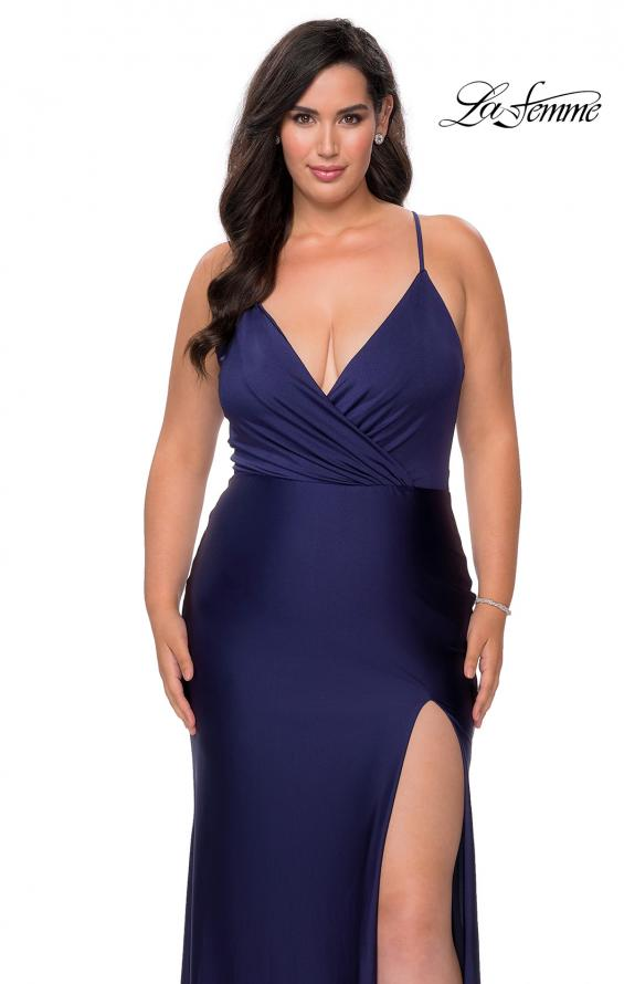 Picture of: Jersey Prom Dress for Curves with Slit and Criss Cross Back in Navy, Style: 29022, Detail Picture 5