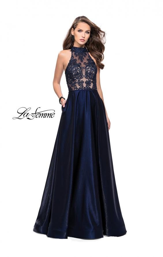 Picture of: Long Prom Dress with Satin A-line Skirt and Beading, Style: 25617, Main Picture