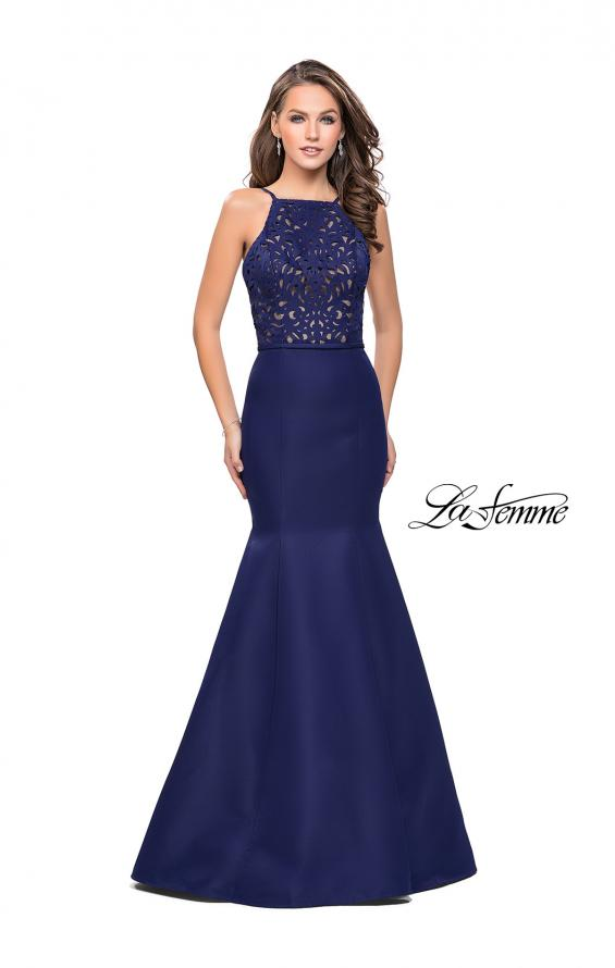 Picture of: Long Mermaid Prom Dress with Laser Cut Pattern Detail in Navy, Style: 25650, Main Picture