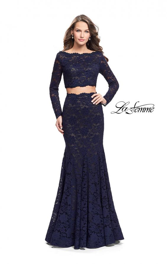 Picture of: Mermaid Style Lace Two Piece Dress with Scalloped Trim in Navy, Style: 25668, Main Picture