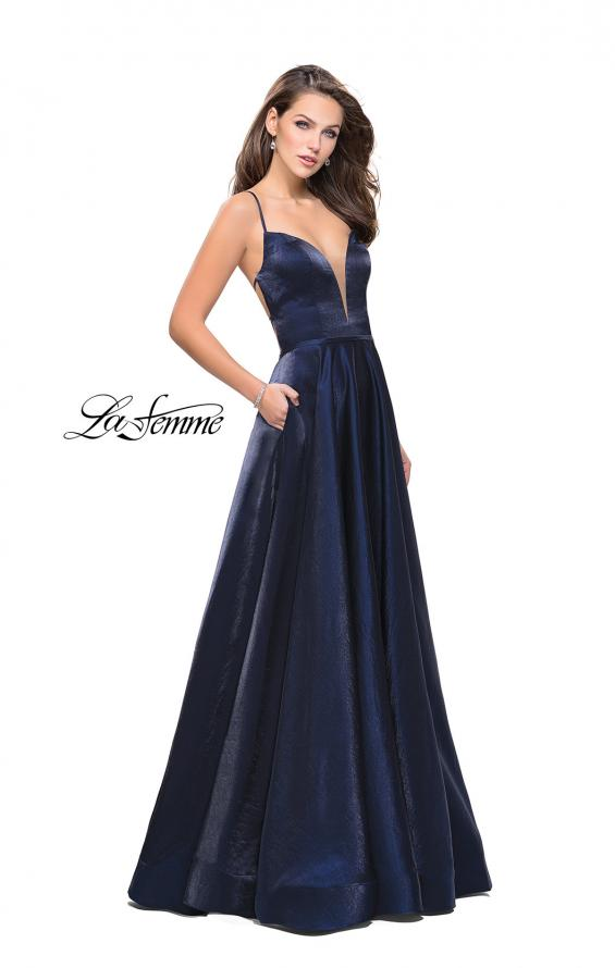 Picture of: Satin A-line Gown with Deep V Sweetheart Neckline in Navy, Style: 25670, Main Picture