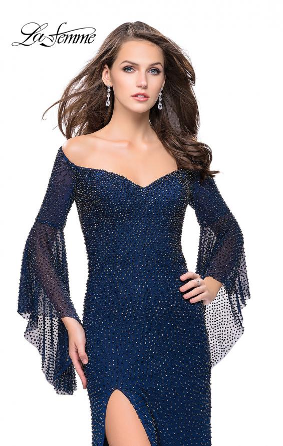 Picture of: Beaded Prom Dress with 3/4 Bell Sleeves and Leg Slit, Style: 25717, Main Picture