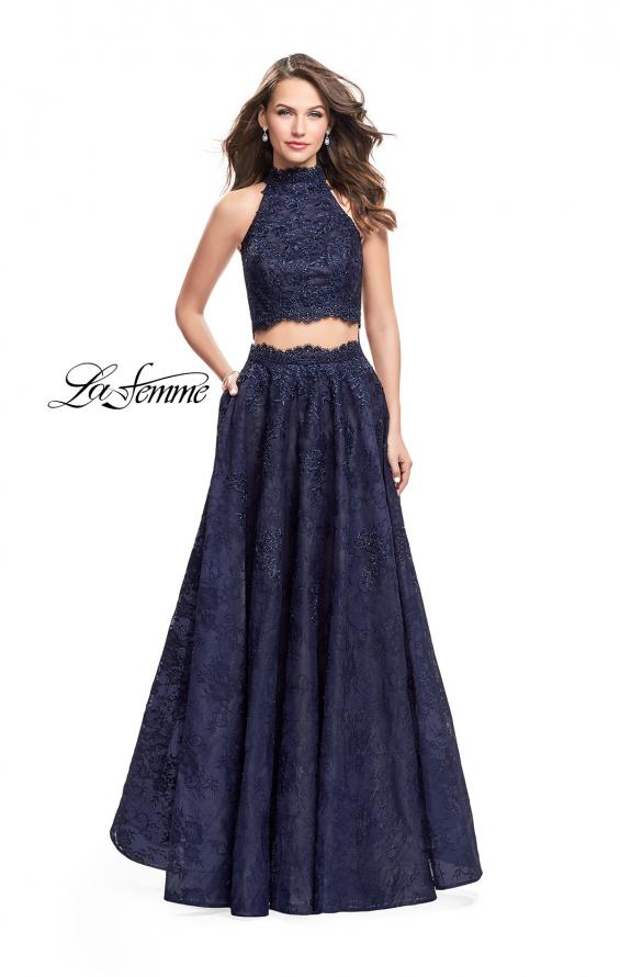 Picture of: Long Lace A-line Two Piece Prom Dress with Cut Outs in Navy, Style: 26103, Main Picture