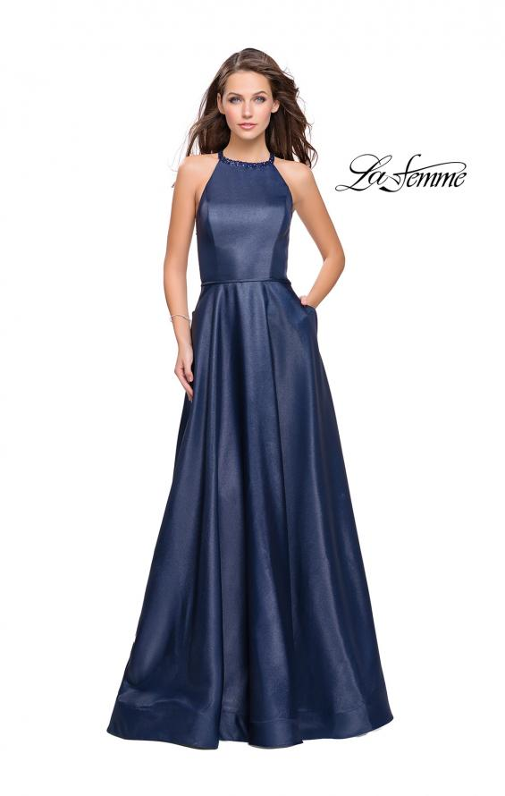 Picture of: Long A-line Beaded Mikado Prom Dress with Pockets in Navy, Style: 26162, Main Picture