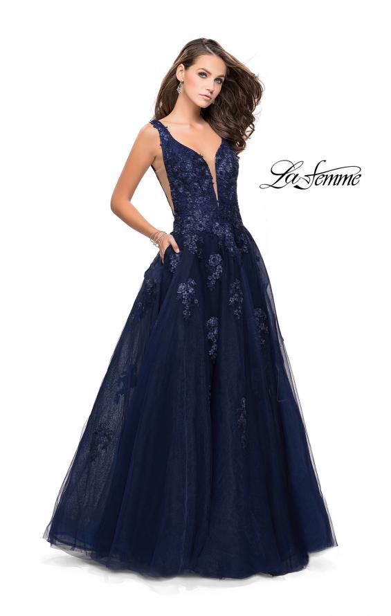 Picture of: Tulle Ball Gown with Beading, Lace, and Mesh Detailing in Navy, Style: 26334, Main Picture