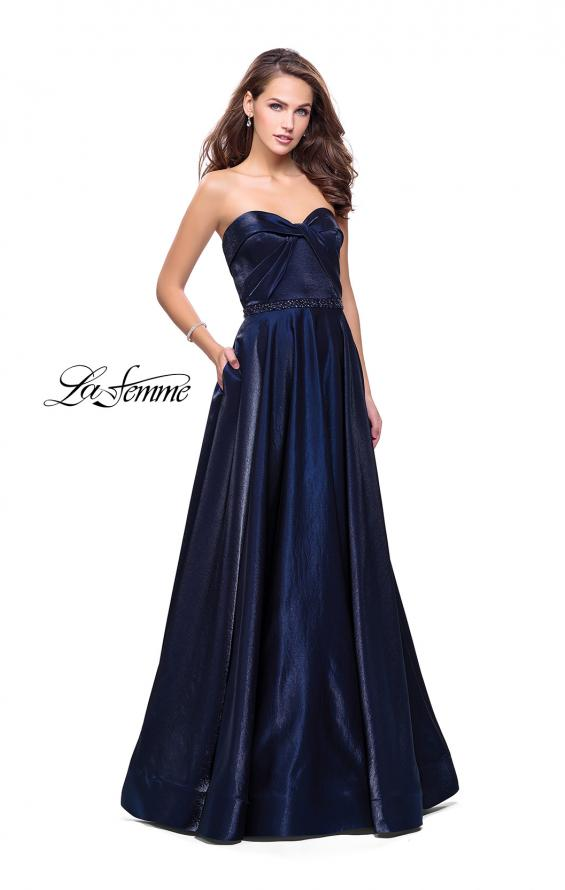 Picture of: Long Strapless Satin A-line Prom Dress with Pockets in Navy, Style: 26340, Main Picture