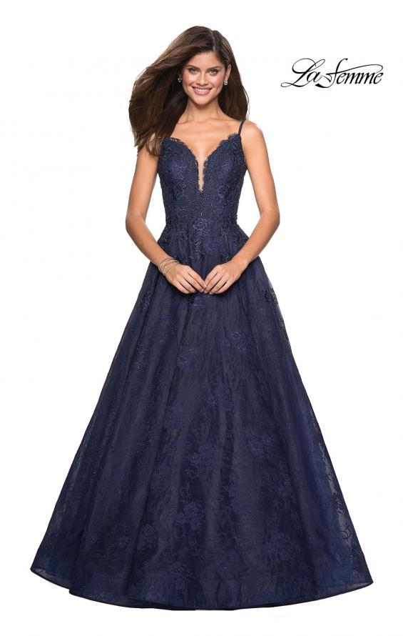 Picture of: Lace Detail Long A Line Prom Dress with Open Back in Navy, Style: 27030, Main Picture