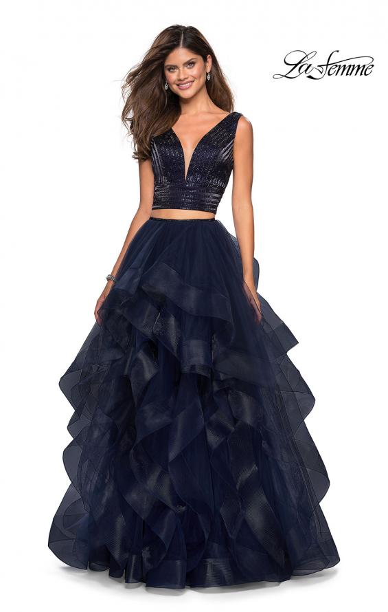 Picture of: Two Piece Metallic Tulle Dress with Rhinestone Bust in Navy, Style: 27445, Main Picture